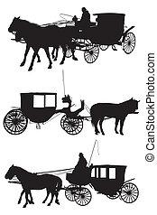 cavalo, e, carruagem, silueta