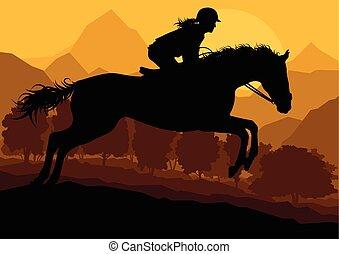 cavalo, eqüestre, campo, vetorial, fundo, desporto, ...