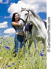 cavalo, eqüestre, prado