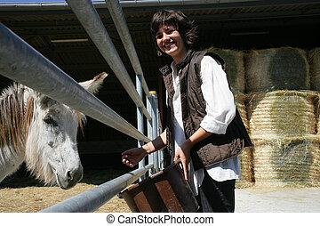 cavalo, estava pé, anexo, femininas, agricultor