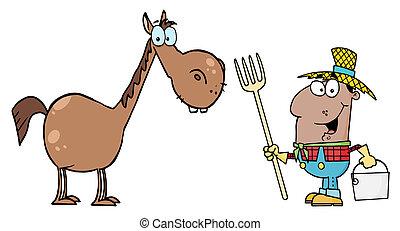 cavalo, feliz, pretas, agricultor
