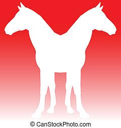 cavalo, gêmeos, ilustração