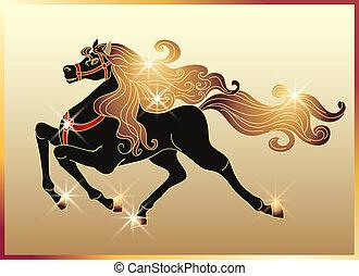 cavalo, galloping, mane, ouro