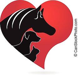 cavalo, gato, e, cão, coração, amor, forma, logotipo