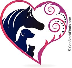 cavalo, gato, e, cão, coração, amor, logotipo