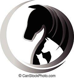 cavalo, gato, e, cão, logotipo