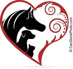 cavalo, gato, e, cão, swirly, coração, amor, logotipo