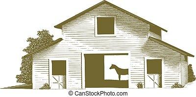 cavalo, gravado, estável