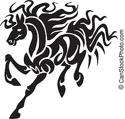 cavalo, illustration., tribal, -, estilo, vetorial