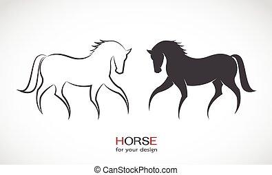 cavalo, imagem, vetorial, desenho, fundo, branca