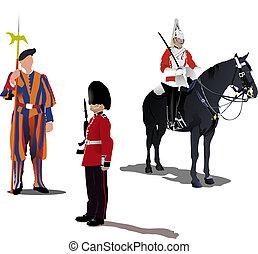 cavalo, isolado, guardas, três, branca