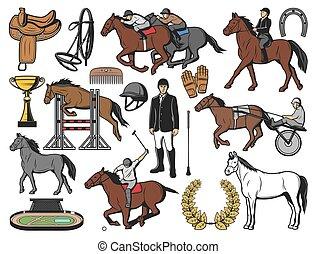 cavalo, jóquei, equipamento, raça, pólo, desporto