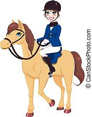 cavalo, jóquei, menina, eqüestre