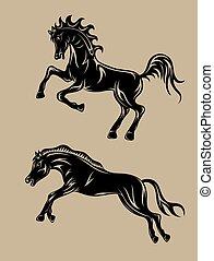 cavalo, jogo, executando