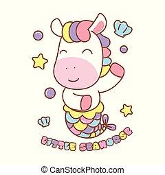 cavalo-marinho, arco íris, hair., ilustração, cute