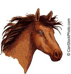 cavalo marrom, vetorial, símbolo, cabeça, árabe, esboço, selvagem