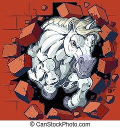 cavalo, mascote, bata, através, parede