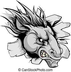 cavalo, mascote, quebrando, parede