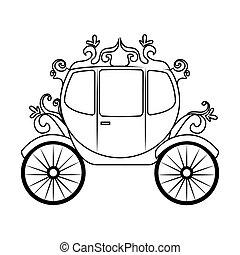 cavalo, objeto, ilustração, carruagem, vetorial, ícone