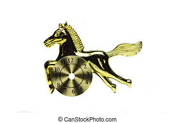 cavalo, ouro, relógio