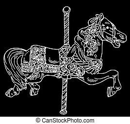 cavalo, pretas