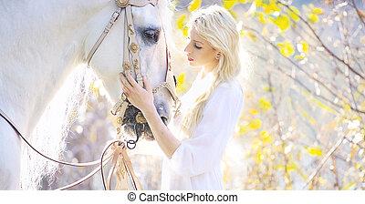 cavalo, real, tocar, atraente, loiro, cutie