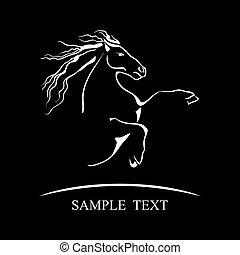 cavalo, símbolo, ligado, pretas, experiência., vetorial,...