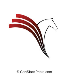 cavalo, símbolo, vetorial