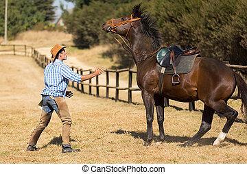 cavalo, seu, baixo, pacata, criador, tentando