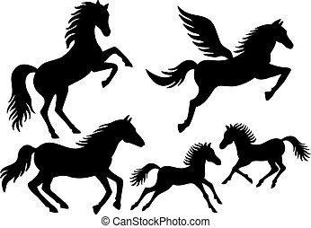cavalo, silhuetas, vetorial