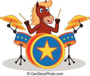 cavalo, tambor, tocando, caricatura