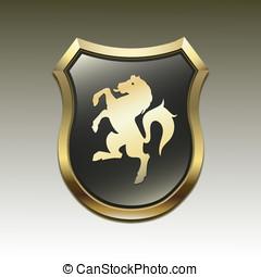 cavalo, vetorial, braços