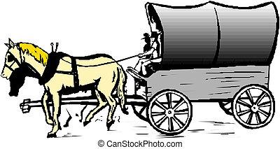 cavalo, vetorial, carreta