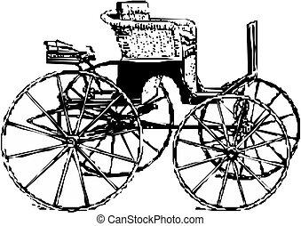 cavalo, vetorial, carruagem