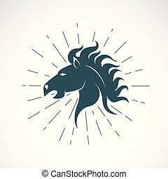 cavalo, vetorial, illustration., editable, cabeça, ilustração, símbolo., t-shirt, experiência., layered, anunciando, fácil, animal., branca, graphics.