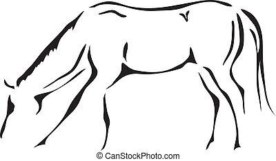 cavalo, vetorial, pretas, branca, esboços