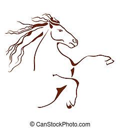 cavalo, vetorial, símbolo., ilustração