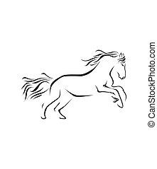 cavalo, vetorial, símbolo, ilustração