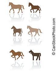 cavalo, vetorial, símbolo, set.