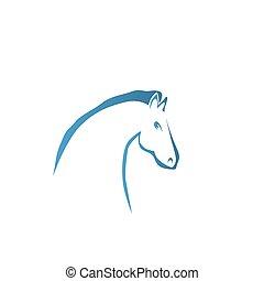 cavalo, vetorial, silueta, cabeça