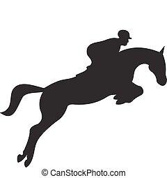 cavalo, vetorial, silueta