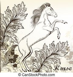 cavalo, vindima, estilo, mão, vetorial, desenhado