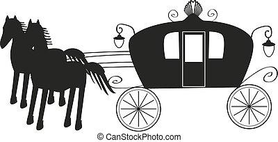 cavalo, vindima, isolado, carruagem, experiência preta, branca