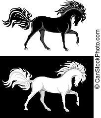 cavalos, branca, pretas