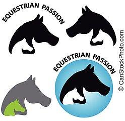 cavalos, cabeça, fundo branco