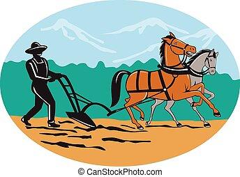 cavalos, campo, arar, caricatura, agricultor