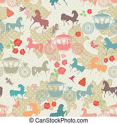 cavalos, carruagem, seamless, textura