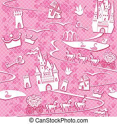 cavalos, cor-de-rosa, terra, padrão, fairytale, -, seamless, estradas, castelos, lagos, fundo, moinhos, princesa