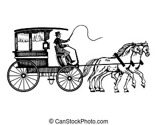 cavalos, gravura, estilo, vetorial, carruagem