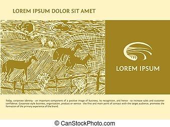 cavalos, gravura, vetorial, road., imagem, linocut, logotype, campo, commodities., field., fundo, logotipo, agrícola, descrevendo